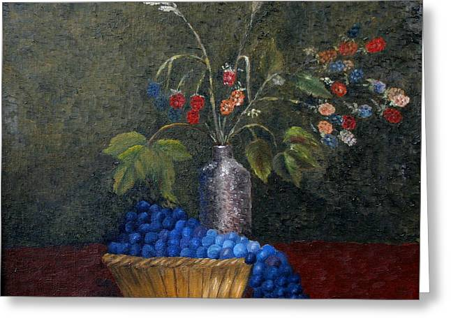 Still Life With Blue Fruit Greeting Card by Karin Eisermann
