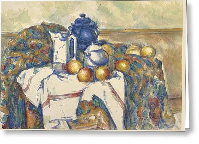 Still Life With Blue Pot Greeting Card by Paul Cezanne