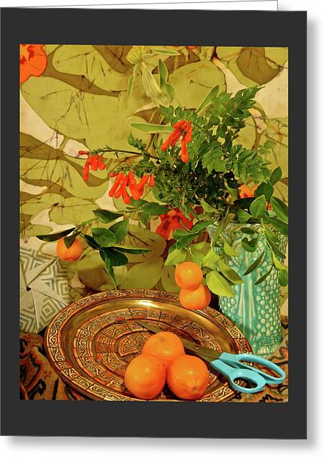 Still Life With Blue Scissors Greeting Card by Bonnie See