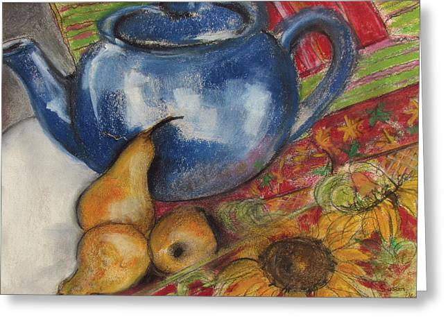 Still Life With Blue Teapot One Greeting Card by Susan Adams