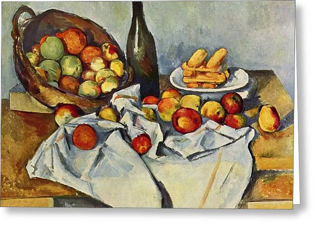 Still Life With Bottle And Apple Basket Greeting Card