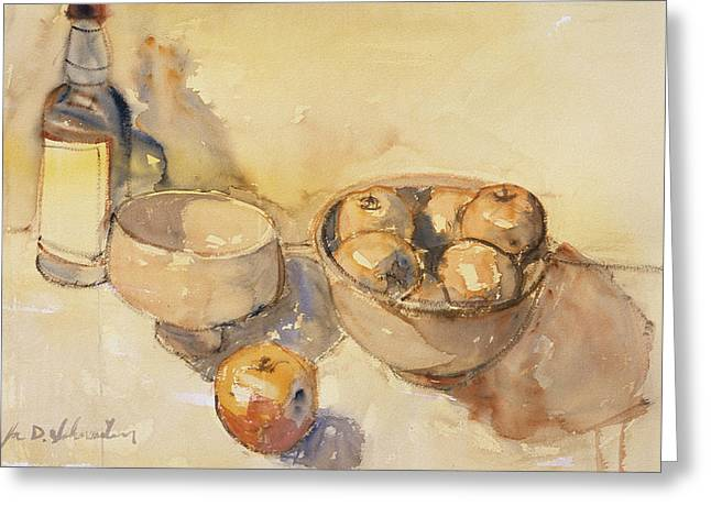 Still Life With Bottle And Apples Greeting Card