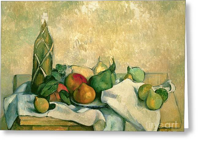 Fruit Food Greeting Cards - Still Life with Bottle of Liqueur Greeting Card by Paul Cezanne