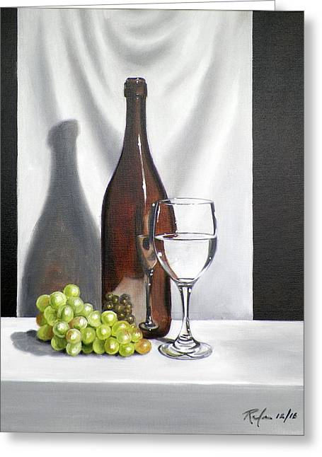 Still Life With Bottle, Wine And Grapes Greeting Card by RB McGrath