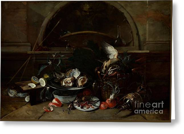 Still Life With Bottles And Oysters Greeting Card