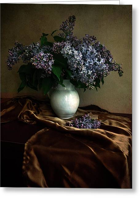 Greeting Card featuring the photograph Still Life With Bouqet Of Fresh Lilac by Jaroslaw Blaminsky