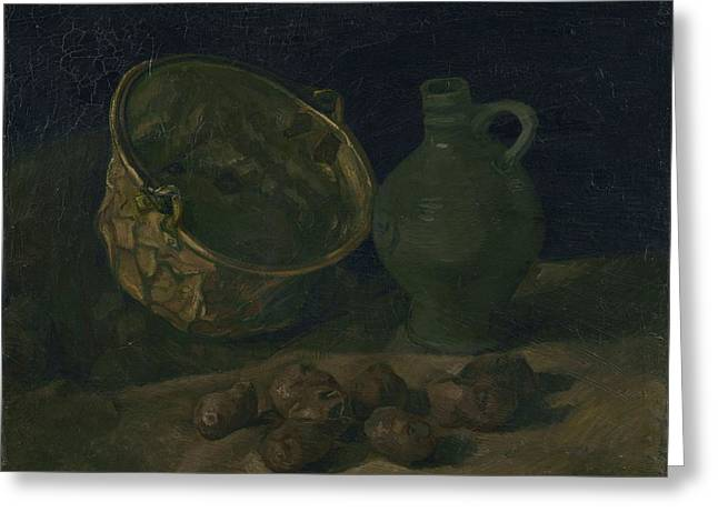 Still Life With Brass Cauldron And Jug, 1885 Greeting Card