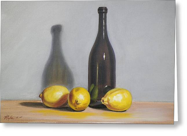 Still Life With Brown Bottle And Lemons Greeting Card by RB McGrath