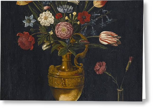 Still Life With Carnations And Other Flowers In A Gilt Vase A Parrot And A Beetle Greeting Card by German School