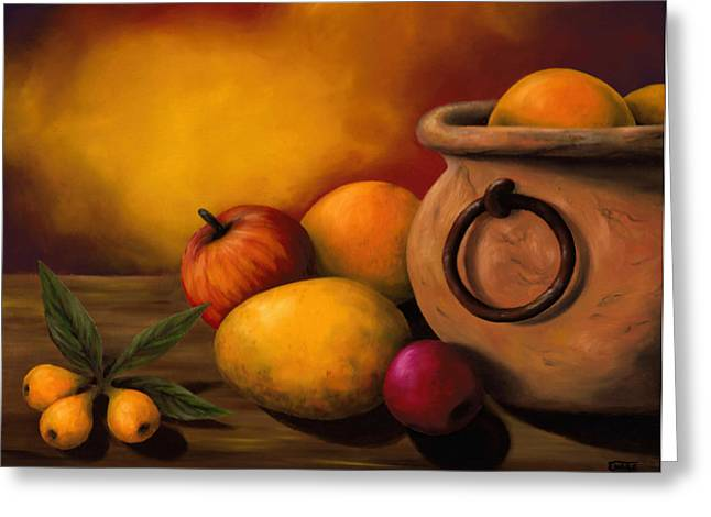Still Life With Ceramic Pot Greeting Card by Enaile D Siffert