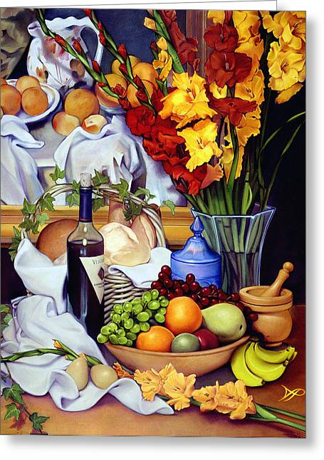 Gladiolus Greeting Cards - Still Life with Cezanne Greeting Card by Patrick Anthony Pierson