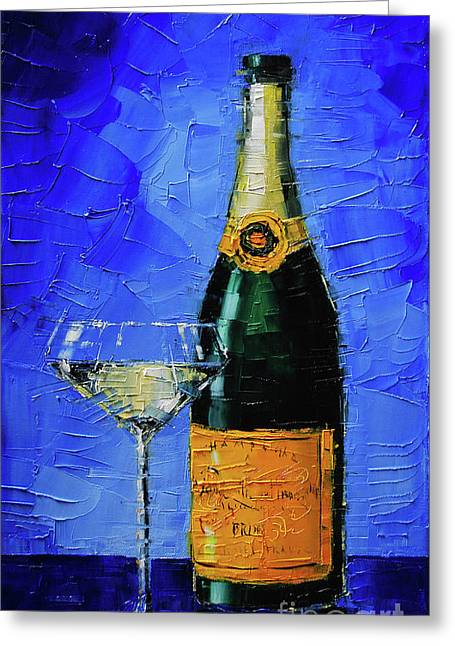 Still Life With Champagne Bottle And Glass Greeting Card
