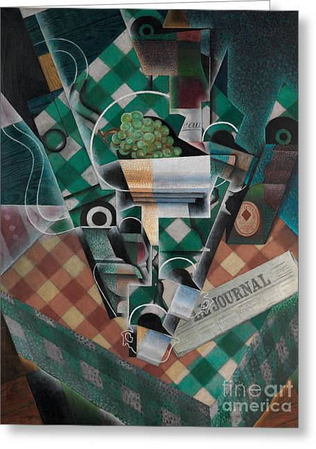 Still Life With Checked Tablecloth, 1915 Greeting Card by Juan Gris