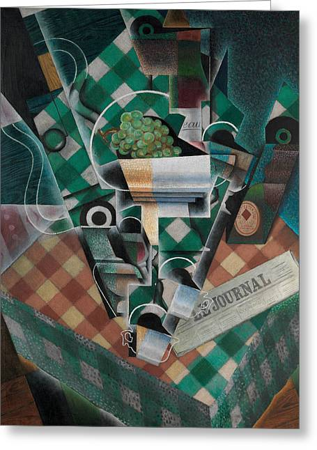 Still Life With Checked Tablecloth Greeting Card by Juan Gris