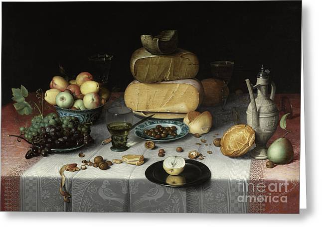 Still Life With Cheese Greeting Card by Floris Claesz van Dyck