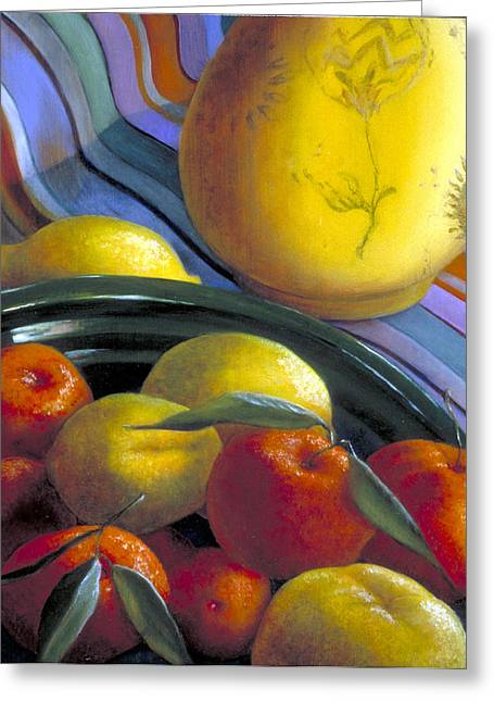 Still Life With Citrus Greeting Card by Nancy  Ethiel