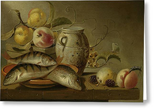 Still Life With Clay Jug, Fish And Fruits Greeting Card