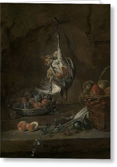 Still Life With Dead Pheasant Greeting Card by Jean-Baptiste-Simeon Chardin