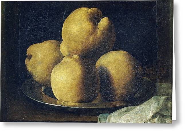 Still Life With Dish Of Quince Greeting Card by Francisco de Zurbaran