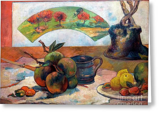 Still-life With Fan, Nature Morte A L'eventail, By Paul Gauguin, Greeting Card by Peter Barritt