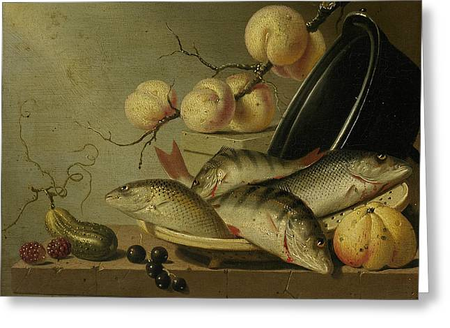 Still Life With Fish And Fruits Greeting Card by Harmen Steenwijck