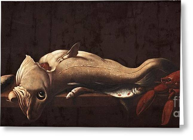 Still Life With Fish And Lobster Greeting Card by MotionAge Designs