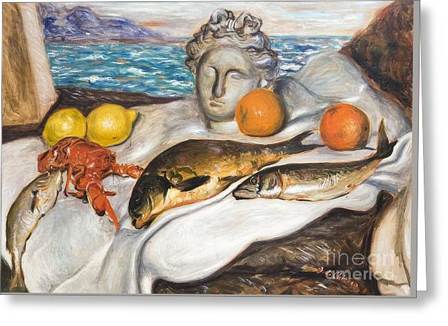 Still Life With Fish By Giorgio De Chirico Greeting Card by Roberto Morgenthaler
