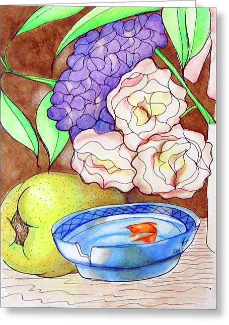 Still Life With Fish Greeting Card by Loretta Nash