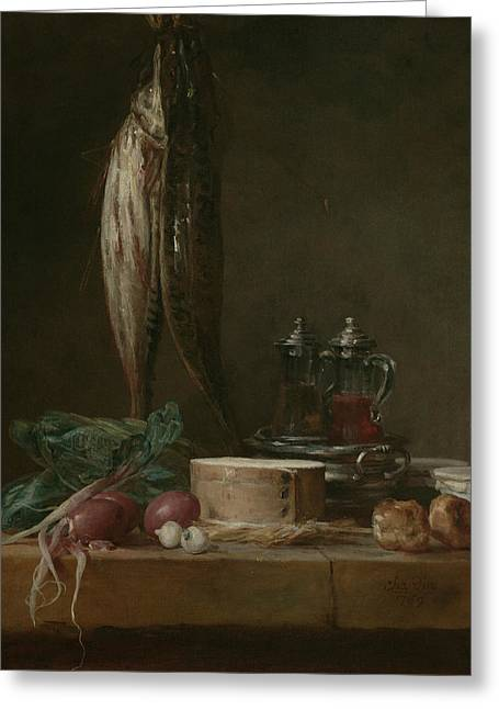 Still Life With Fish, Vegetables, Gougeres, Pots, And Cruets On A Table  Greeting Card