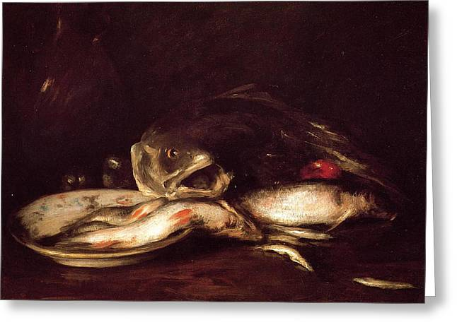 Still Life With Fish Greeting Card by William Merritt