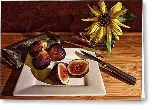 Still Life With Flower And Figs Greeting Card