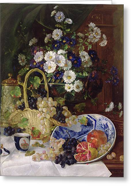 Still Life With Flowers And Fruit Greeting Card by Eugene Henri Cauchois