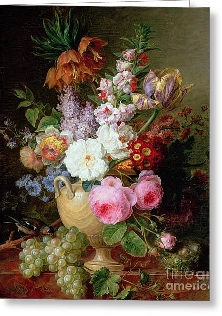 Still Life With Flowers And Grapes Greeting Card by Cornelis van Spaendonck
