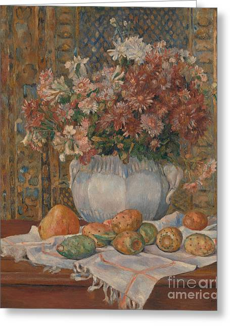Still Life With Flowers And Prickly Pears, 1885 Greeting Card
