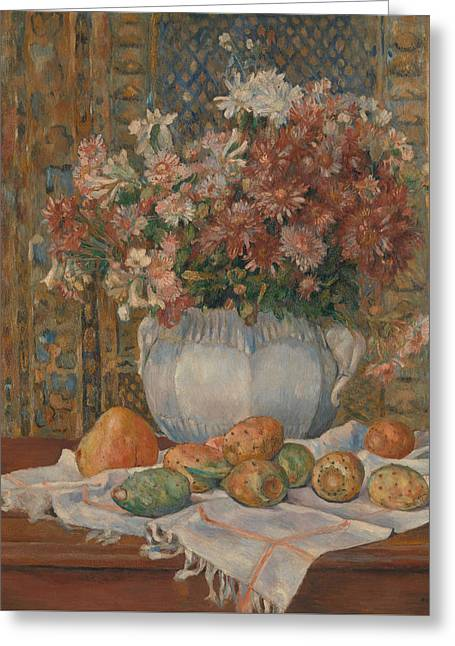 Still Life With Flowers And Prickly Pears Greeting Card by Auguste Renoir