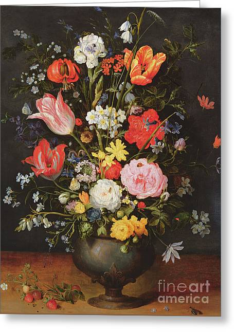Still Life With Flowers And Strawberries Greeting Card by Jan the Younger Brueghel