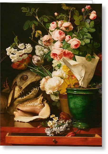 Still Life With Flowers Greeting Card by Antoine Berjon