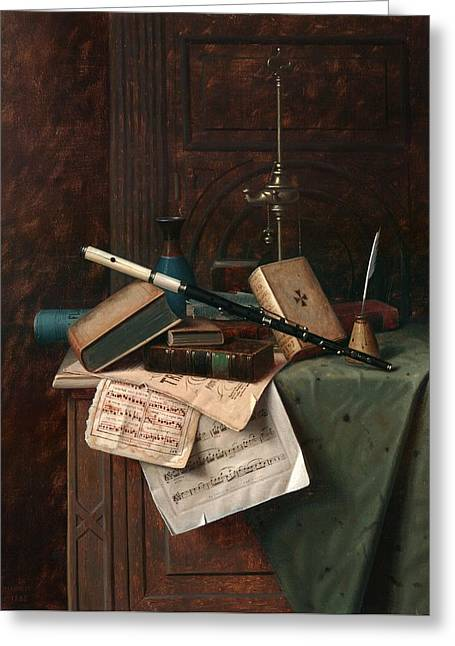 Still Life With Flute Vase And Roman Lamp Greeting Card