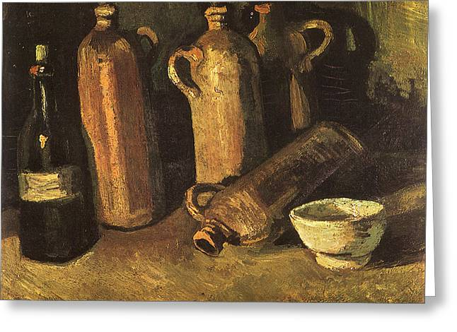 Still Life With Four Stone Bottles, Flask And White Cup, 1884 Greeting Card by Vincent Van Gogh