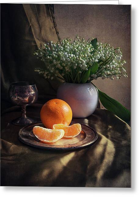 Greeting Card featuring the photograph Still Life With Fresh Flowers And Tangerines by Jaroslaw Blaminsky