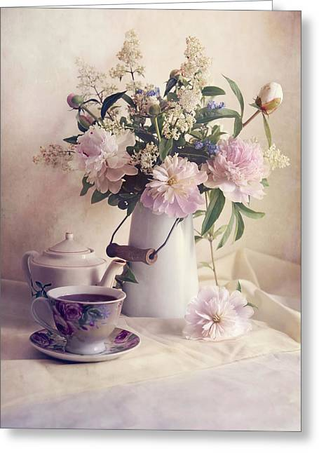 Still Life With Fresh Flowers And Tea Set Greeting Card