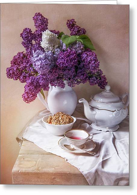 Greeting Card featuring the photograph Still Life With Fresh Lilac And China Pots by Jaroslaw Blaminsky