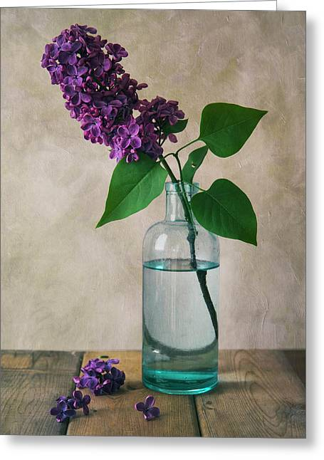 Greeting Card featuring the photograph Still Life With Fresh Lilac by Jaroslaw Blaminsky