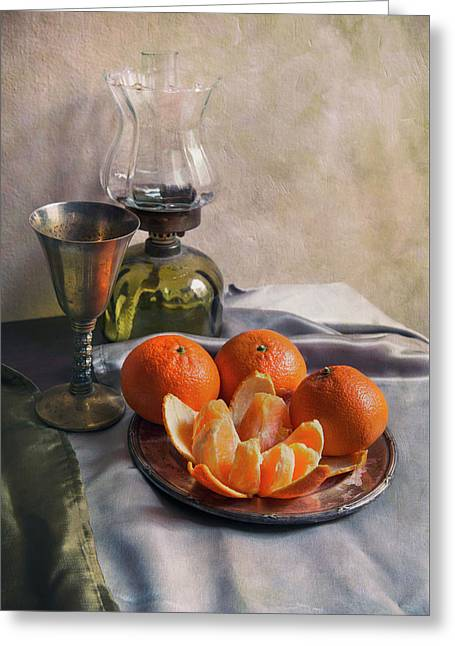 Still Life With Fresh Tangerines And Oil Lamp Greeting Card