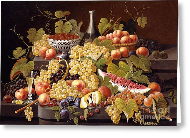 Still Life With Fruit And Champagne Greeting Card by Severin Roesen