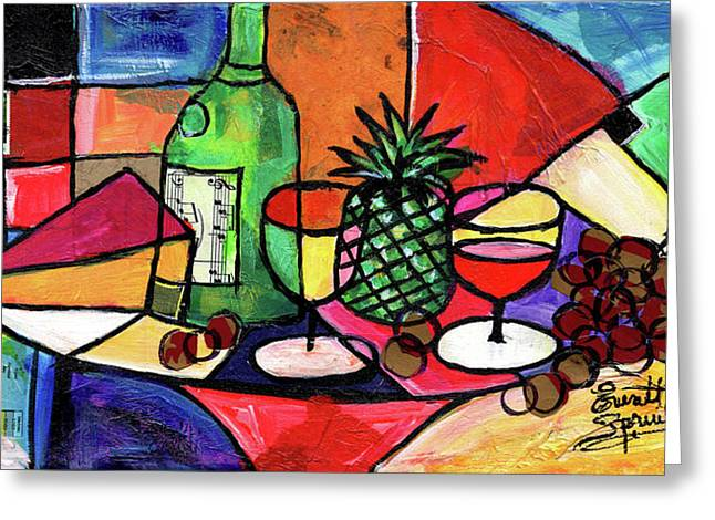Still Life With Fruit And Wine #303 Greeting Card by Everett Spruill