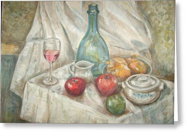Still Life With Fruit And Wine Greeting Card by Joseph Sandora Jr