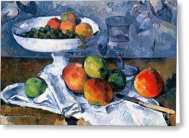 Still Life With Fruit Dish Greeting Card by Paul Cezanne