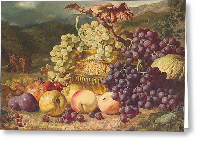 Still Life With Fruit In A Landscape Greeting Card by George Lance