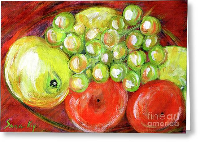 Still Life With Fruit. Painting Greeting Card